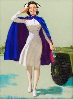 1940s Pin Up Girl American Red Cross Nurse WW II Picture Poster Print Art | eBay