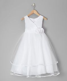 Take a look at this White Embellished Surplice Dress - Toddler & Girls by Kids Dream on #zulily today! $39.91