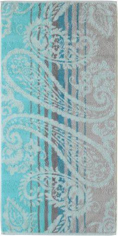 Hübsches Badetuch »Noblesse Paisley« der Marke Cawö. Tolle Paisleys, tolle Farben, tolle Streifen - all das bietet dieses Badetuch. Außerdem fühlt sich der Stoff aus reiner Baumwolle herrlich flauschig an, ist hautfreundlich, saugstark und hochwertig. Das Frotteetuch kann bei 60 Grad in der Maschine gewaschen werden und ist trocknergeeignet. Mit Hilfe des praktischen Kordelaufhängers lässt sich...