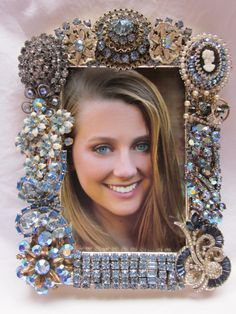 Shades of Blue ♥ Vintage jewelry frame from my shop
