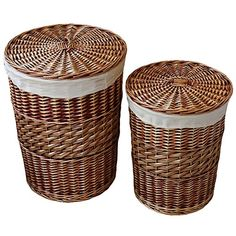 Kingwillow,Laundry Storage Baskets with Lid Hamper Handmade Woven Wicker&cattail Round Closet Organizer (Set of Brown) Laundry Hamper With Lid, Woven Laundry Basket, Wicker Laundry Hamper, Washing Basket, Wicker Baskets, Laundry Storage, Storage Organization, Laundry Bags, Laundry Room