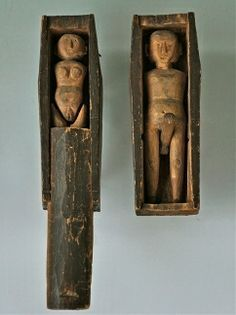 """COFFIN COUPLE, PUBLISHED If you own the book """"American Primitive: Discoveries in Folk Sculpture"""" (1988, Roger Ricco, Frank Maresca), go to page 33."""