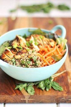 Grilled lemon chicken quinoa bowl