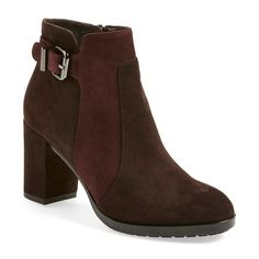 Aquatalia by Marvin K. 'Elianna' Weatherproof Almond Toe Ankle Boot,... ($595) ❤ liked on Polyvore featuring shoes, boots, ankle booties, ankle boots, platform bootie, high heel platform boots, short suede boots, platform boots and suede booties