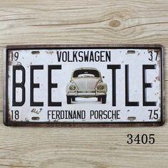 Unbranded Bar Pub Tin Home Décor Plaques & Signs Volkswagen Beetle Vintage, Volkswagen Bus, Vintage Metal Signs, Vintage Bar, License Plate Decor, License Plates, Wal Art, Ferdinand Porsche, Vw Cars
