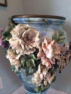 Antique French Barbotine Majolica Ovid Vase.