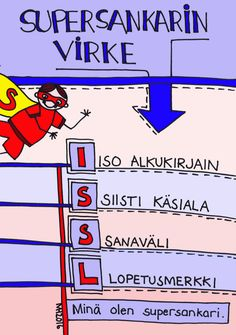 Supersankarin virke. Special Needs Teaching, Finnish Language, Learning To Write, Writing Skills, School Fun, Special Education, Mathematics, Literacy, Literature