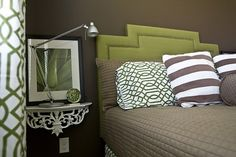 A nice shelf acts as a night stand-perfect in a small bedroom-eclectic bedroom by Michelle Hinckley Taupe Bedroom, Bedroom Green, Home Bedroom, Bedroom Decor, Bedroom Photos, Bedroom Colors, Bedroom Furniture, Bedside Shelf, Bedside Tables