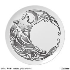 Tribal Wolf - Shaded Dinner Plates