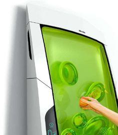 Gel Bio Robot Fridge- wall of green Jell-O-like gel that will hold whatever you put in place