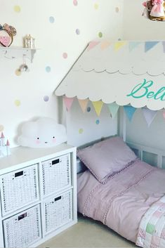 Pastel rainbow dots wall stickers is colorful and fun way to decorate your kids room. It is very easy too, just peal and stick decals wherever you want! #pastelrainbow #rainbowdots #dotswallstickers #wallstickersforgirlroom #littlegirlroom #toddlerroomdecor Polka Dot Nursery, Bright Nursery, Polka Dot Walls, Polka Dot Wall Decals, Nursery Wall Decor, Baby Room Decor, Pastel Girls Room, Diy Ideas, Decor Ideas