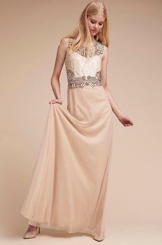 NEW BHLDN Adrianna Papell Kyle Gown Prom Wedding Maxi Dress Size 12 Beaded