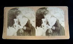 """1888 W.Kilburn Vintage Stereoview of Little Girl and Her Dog titled """"Affection,"""" Photographer is James M Davis."""