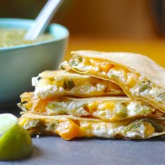 Corn tortilla quesadillas with goat cheese, roasted butternut squash and nopalito cactus. Homemade cheesy goodness. GF