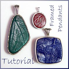 Tutorial Polymer Clay Pendants with Leaf Imprints and Silver Frames by Eugena777, via Flickr