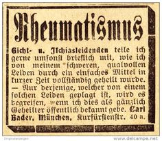Original-Werbung/ Anzeige 1907 - RHEUMATISMUS / CARL BADER - MÜNCHEN  - Ca. 45 X 40 Mm - Werbung
