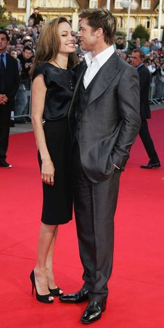 Angelina Jolie and Brad Pitt appear totally smitten with one another as they arrived at the 2007 premiere of The Assassination of Jesse James by the Coward Robert Ford during the Deauville American Film Festival in France.