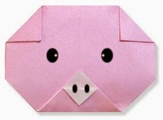 Easy Origami Pig (face)