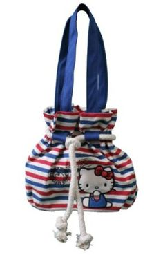 Hello Kitty Striped Wish You Were Here Blue Tote