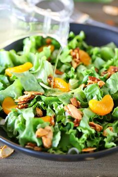 When I'm asked to bring a green salad to a party, I always bring this Mandarin Orange Salad! I always get asked for the recipe. The thing that's different about this salad is the homemade DRESSING! It is just too delicious and so easy to make! Easy Green Salad Recipes, Lettuce Salad Recipes, Salad Recipes For Parties, Orange Recipes, Easy Salads, Healthy Salad Recipes, Food Salad, Beet Salad, Fun Recipes