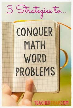Strategies to Conquer Math Word Problems Conquer math word problems - A great list of ideas for improving math problem solving for your child!Conquer math word problems - A great list of ideas for improving math problem solving for your child! Math Strategies, Math Resources, Math Tips, Kids Worksheets, Teaching Math, Teaching Tips, Math Teacher, Teacher Stuff, Math Problem Solving