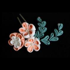 *再販*梅の花寄せかんざし 下がり付き(取り外し式) ピンク - 餡蜜優花