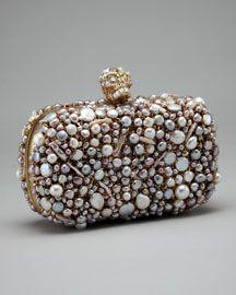 Alexander McQueen Pearl-Encrusted Skull Box Clutch