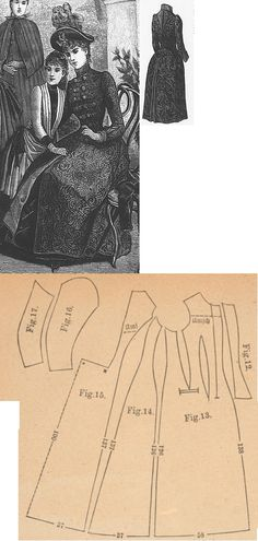 Der Bazar 1888: Redingote from brown broché woollen with brown atlas lining; 12. front part's lining for closure, 13. front part, 14. side gore, 15. back part in half size, 16. and 17. sleeve parts
