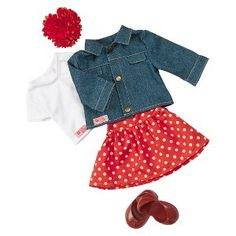 Our Generation Jean Jacket Outfit;  Clothes and accessories for Miley's American girl.