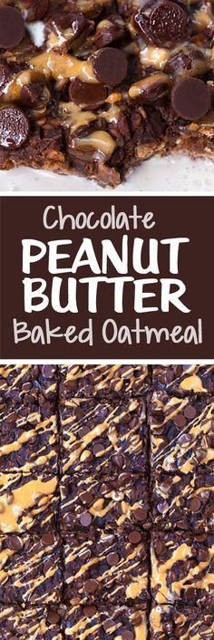 Chocolate Peanut Butter Brownie Baked Oatmeal Recipe (Vegan)