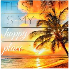This is my Happy Place Beach Art on Wood. Sunny and bright! Featured on Beach Bliss Designs.