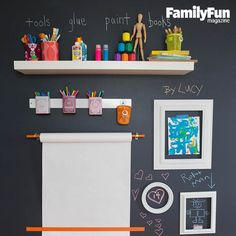 Make It Easy to Make Stuff: A chalkboard-paint art wall lets your crew create with abandon while supplies stay neat and tidy. Simple extras, such as a wooden dowel, a magnetic strip, and a high shelf, hold pencils, paper, and more. Thrift shop frames act as a fun gallery for chalk drawings or works on paper.