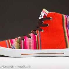 High Top-Sneaker , handgewebt, orange, Fair Trade, Peru