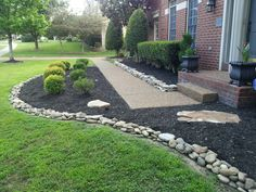 46 Beautiful Front Yard Rock Garden Landscaping Ideas , Just because you've got a little yard, doesn't necessarily mean that you get small landscaping effects. A back yard that's not properly leveled is a g. Rock Mulch, River Rock Landscaping, Stone Landscaping, Landscaping With Rocks, Front Yard Landscaping, Luxury Landscaping, Residential Landscaping, Landscaping Melbourne, Outdoor Landscaping
