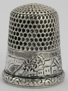 Sweet Engraved Simons Bros Sterling Thimble w House Size 9