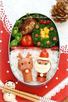 つくれぽ100人&サンタさんとトナカイさんのクリスマス弁当*キャラ弁 : momo's obentou*キャラ弁