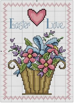 Flower Basket for Easter - DMC floss #crossstitch #pattern #easter