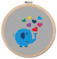 Cute Little Elephant , Counted Cross stitch, Pattern PDF, Cross Stitch Chart , Cute Cross Stitch, Cross stitch pattern, pixel art. 0017