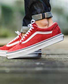 new style ea6dd 6be42 VANS Old Skool Racing Red Calzado Masculino, Zapatos Deportivos, Estilo De  Zapatos, Calzado