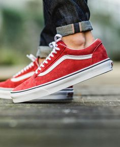 red old skool vans shoes men