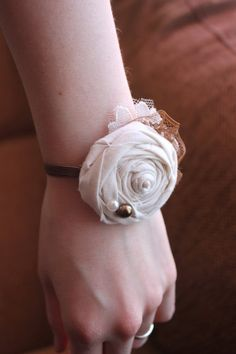 Rustic Country Simple Lace Flower Wrist Corsage by dustyLuck