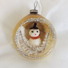 Vintage Christmas glass diorama ornament gold w spun cotton snowman and bottle brush trees by thevintageelf, $30.00