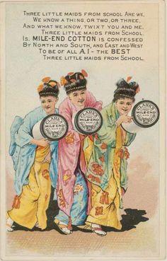 thread Advertising Trade card three little maids