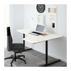 BEKANT Ecktisch rechts - weiß/schwarz - IKEA
