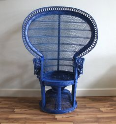 Items Similar To Vintage Peacock Fan Boho Chic Wicker Chair In Cobalt Blue  On Etsy