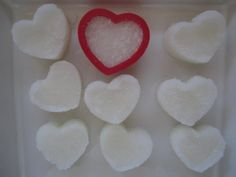 Make your own heart shaped sugars! Before adding water though, add some food coloring to the water  THEN add the water to the sugar to make different colors!! Do it in any shapes