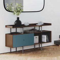 'Margo Console by BDI. @2Modern' Hallway Console, Console Cabinet, Sideboard, Modern Foyer, Modern Living, Belfort Furniture, Walnut Doors, Display Shelves, Entertainment Center