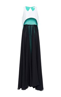 Turquoise Embroidered Strapless Bustier Gown With Topper by Prabal Gurung for Preorder on Moda Operandi