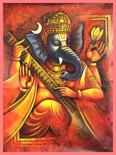 Ganesha by Madhusudhan Ganesha Drawing, Lord Ganesha Paintings, Ganesha Art, Krishna Art, Om Namah Shivaya, Om Gam Ganapataye Namaha, Ganesh Lord, Shri Ganesh, Art Gallery In Delhi