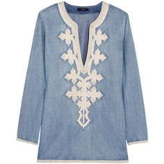 Soutache-embroidered chambray tunic ($90) ❤ liked on Polyvore featuring tops, tunics, shirts, blouses, blusas, embroidered top, blue tunic, embroidery shirts, j crew top and j crew tunic
